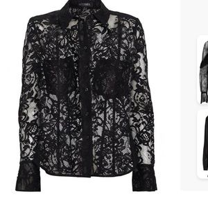 UEC Guess black lace button down blouse, small